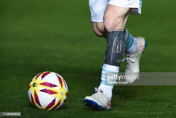 Detail of Lionel Messi tattoos before a friendly match between Argentina and Nicaragua at Estadio San Juan del Bicentenario on May 7 2019 in San Juan...