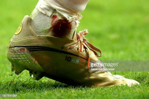 Detail of Lionel Messi's boot during a semi-final match of Copa America Brazil 2021 between Argentina and Colombia at Mane Garrincha Stadium on July...