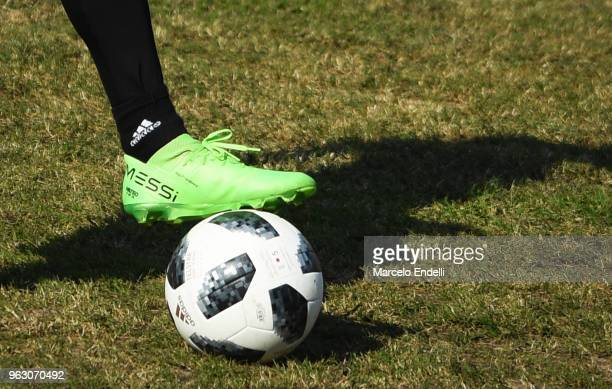 Detail of Lionel Messi's boot during a training session open to the public as part of the team preparation for FIFA World Cup Russia 2018 at on May...