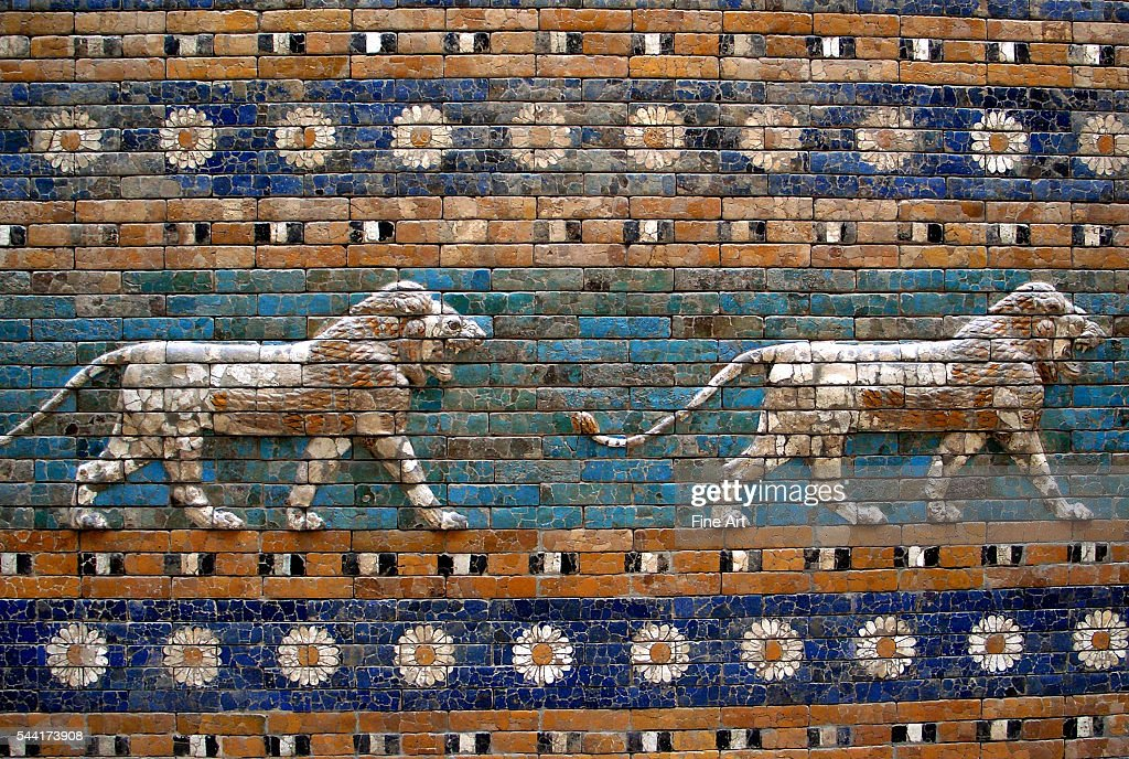 Detail of lions on Ishtar Gate at Pergamon Museum : News Photo