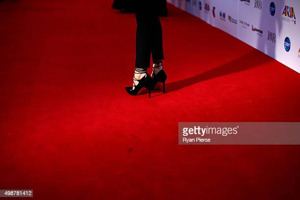 Detail of Louise Adams' shoes on the red carpet ahead of the 29th Annual ARIA Awards 2015 at The Star on November 26, 2015 in Sydney, Australia.