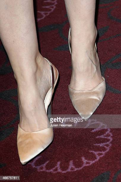 A detail of Louise Bourgoin's shoes during 'Un Beau Dimanche' Paris Premiere at Cinema Gaumont Capucine on February 3 2014 in Paris France