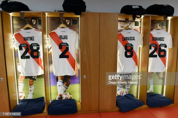 Detail of Lucas Martinez Quarta Robert Rojas Jorge Carrascal and Ignacio Fernandez of River Plate jerseys in the dressing room before a round of...