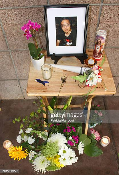 Detail of makeshift memorial outside of Harold Frank Hall at UC Santa Barbara to honor the three UCSB engineering students who were stabbed to death...