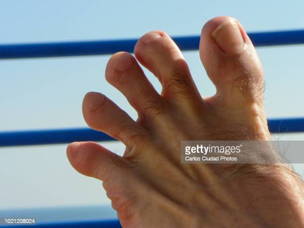 detail of male foot with separated toes - images of ugly feet stock photos and pictures