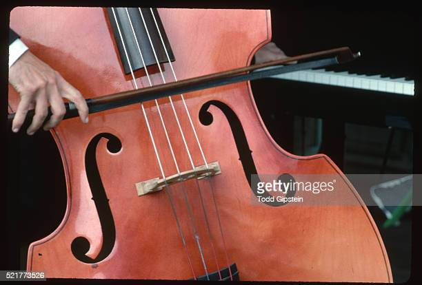 detail of man playing double bass - gipstein stock pictures, royalty-free photos & images