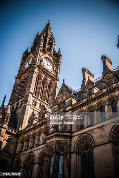 Detail of Manchester Town Hall Clock Tower England UK