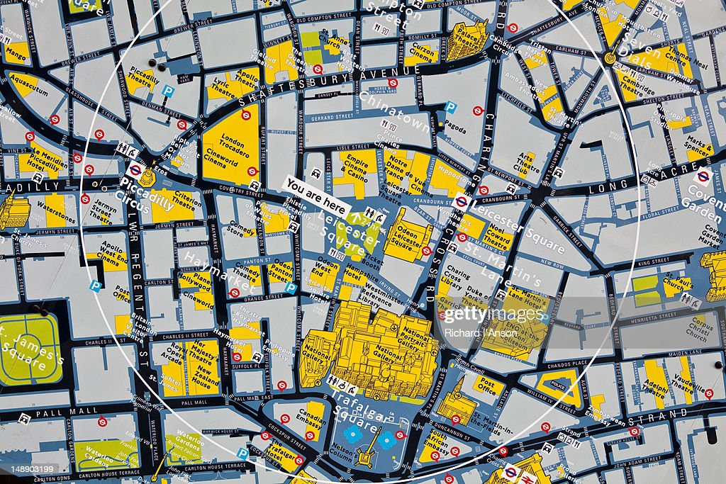 Detail Of Map In Leicester Square Stock Photo Getty Images