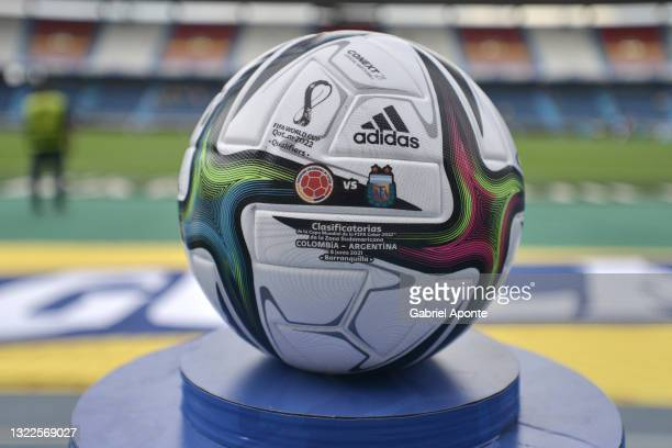 Detail of match ball on a plinth before a match between Colombia and Argentina as part of South American Qualifiers for Qatar 2022 at Estadio...