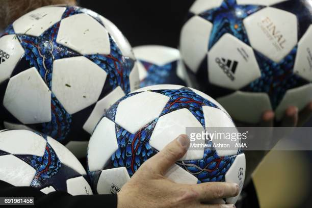 Detail of match balls during the UEFA Champions League Final between Juventus and Real Madrid at National Stadium of Wales on June 3 2017 in Cardiff...