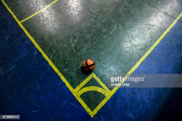 Detail of matchball at Sportivo Pereyra de Barracas Club on June 13 2018 in Buenos Aires Argentina The mural was painted in the ceiling of the pitch...