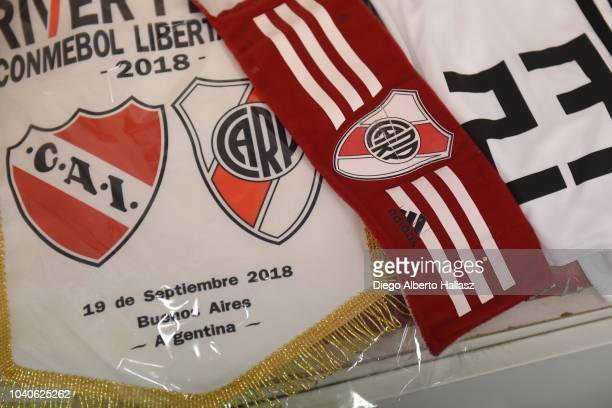 Detail of match's pennant and captain's arm band of River Plate in the visitor's dressing room before a Quarter Final first leg match between...