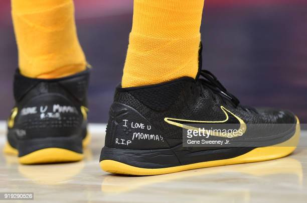 Detail of message written on the shoes of Jae Crowder of the Utah Jazz during a game against the Phoenix Suns at Vivint Smart Home Arena on February...