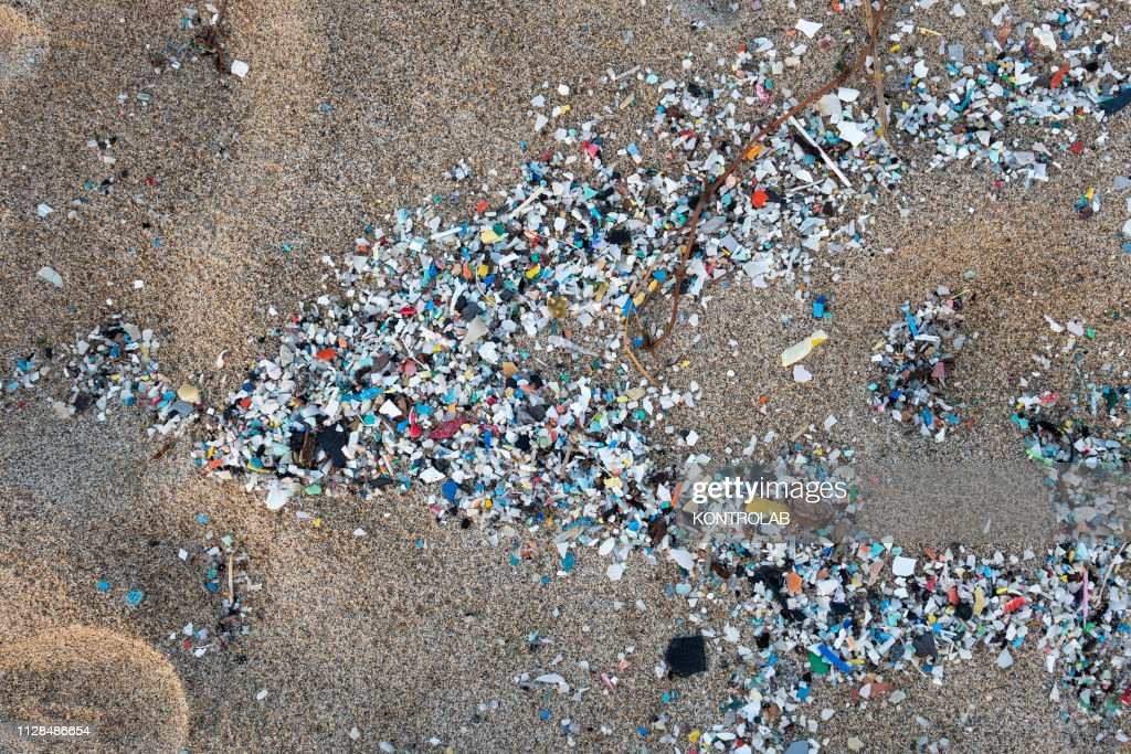 A detail of microplastics along the Schiavonea beach,... : News Photo