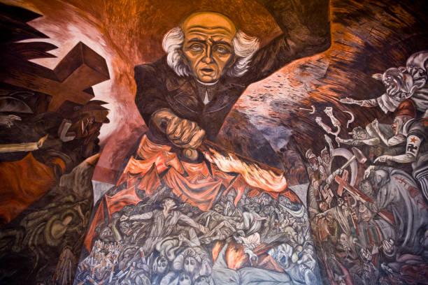 Detail of Miguel Hidalgo mural by Jose Clemenye Orozco in Palacio de Gobierno