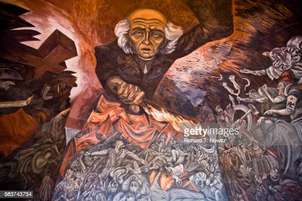 detail of miguel hidalgo mural by jose clemenye orozco in palacio de gobierno - fascism stock pictures, royalty-free photos & images