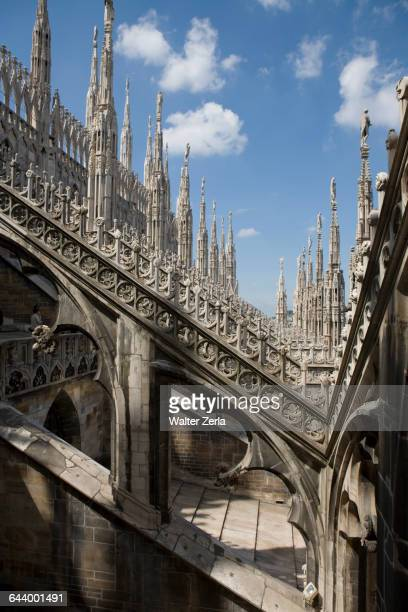 Detail of Milan Cathedral architecture, Milan, Lombardy, Italy