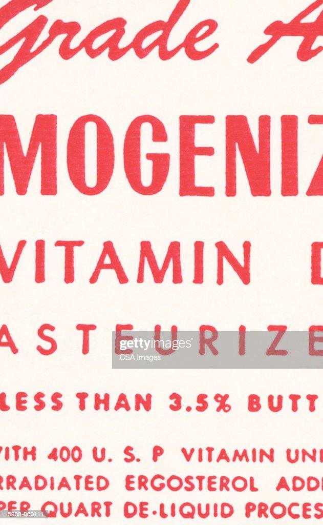 Detail of Milk Carton : Stock Photo