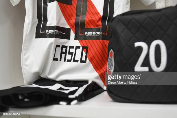 Detail of Milton Casco of River Plate jersey in the dressing room before a quarterfinals match between River Plate and Sarmiento as part of the Copa...