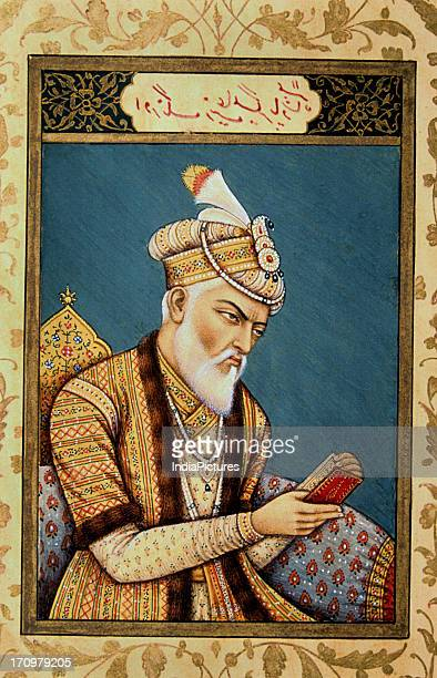 Detail of Miniature painting of Aurangzeb late Mughal National Museum New Delhi India