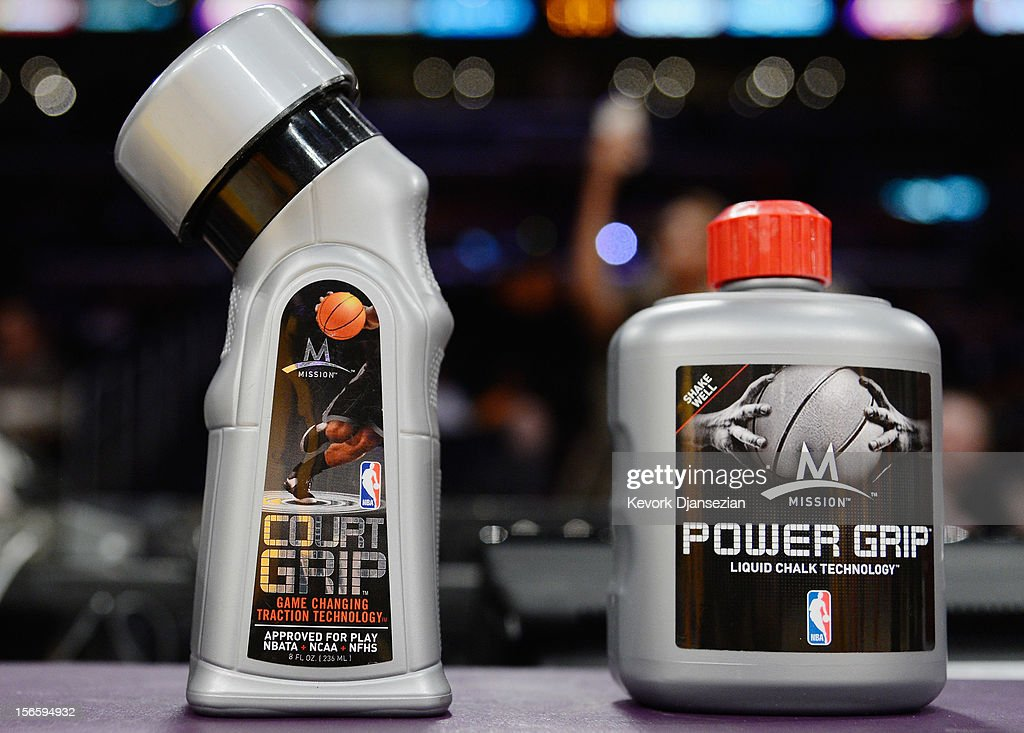 A detail of Mission Court Grip and Power Grip is seen on the scorer's table during the Los Angeles Lakers and Phoenix Suns basketball game at Staples Center on November 16, 2012 in Los Angeles, California.