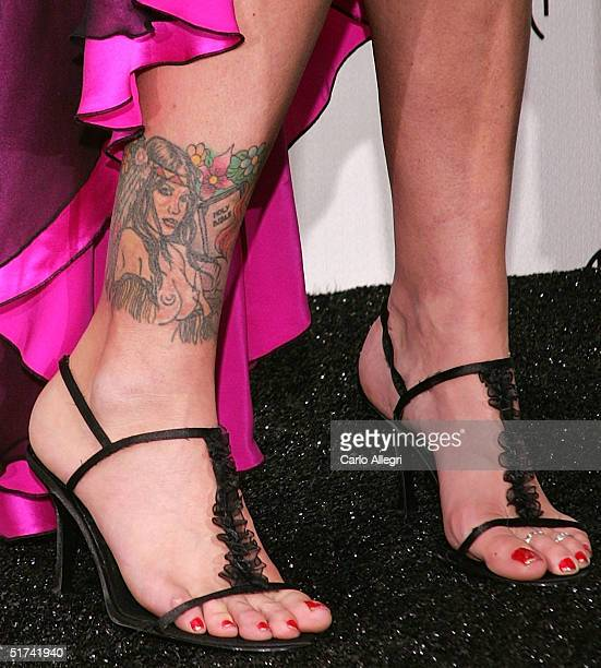 A detail of Model Anna Nicole Smith's shoes in the press room at the 32nd Annual 'American Music Awards' at the Shrine Auditorium November 14 2004 in...
