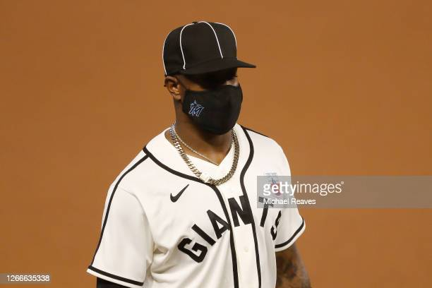 A detail of Monte Harrison of the Miami Marlins' uniform commemorating the Negro Leagues' 100th anniversary prior to the game against the Atlanta...
