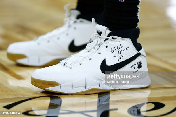 A detail of Montrezl Harrell of the LA Clippers shoes memorializing former NBA player Kobe Bryant and his daughter Gianna who were killed in a...