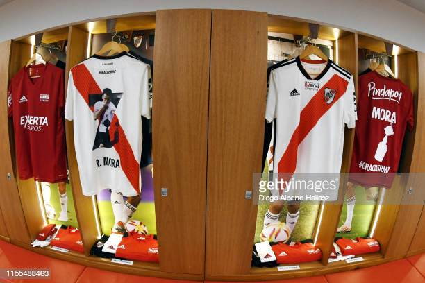 Detail of Mora jerseys in the dressing room before the farewell match of Uruguayan player Rodrigo Mora at Estadio Monumental Antonio Vespucio Liberti...