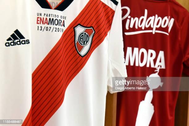 Detail of Mora's jerseys in the dressing room before a the farewell match of Uruguayan player Rodrigo Mora at Estadio Monumental Antonio Vespucio...