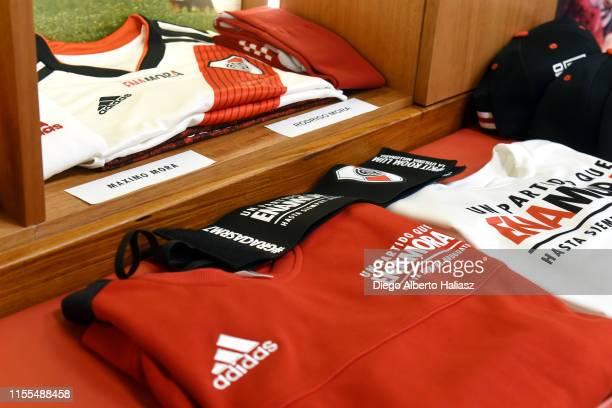 Detail of Mora's jerseys in the dressing room before the farewell match of Uruguayan player Rodrigo Mora at Estadio Monumental Antonio Vespucio...