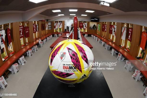 Detail of Mora's matchball in the dressing room before a the farewell match of Uruguayan player Rodrigo Mora at Estadio Monumental Antonio Vespucio...