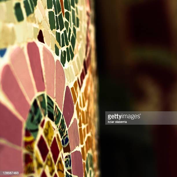 Detail of mosaic in Parc Güell, Barcelona
