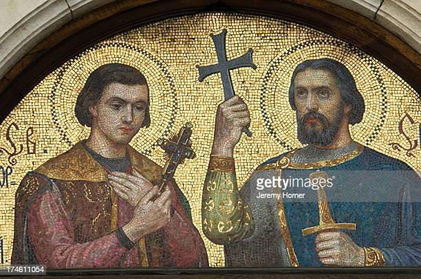 Detail of mosaic on the St Alexander Nevsky Cathedral is a Bulgarian Orthodox cathedral in Sofia the capital of Bulgaria Built in NeoByzantine style...