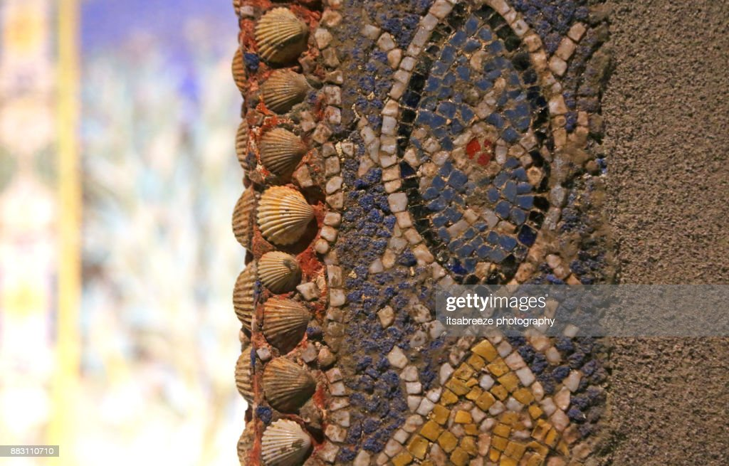 detail of mosaic with sea shells in Pompeii : Stock Photo