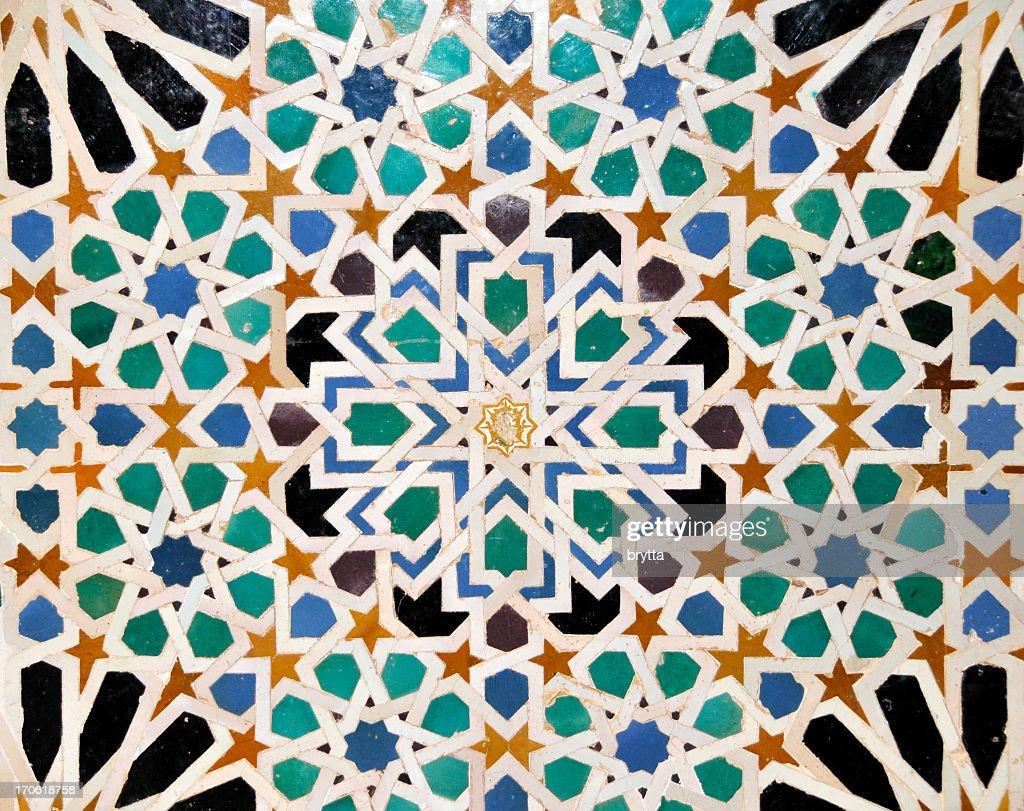 Detalles de los mosaicos en Nasrid palacio de Alhambra, Sevilla, España : Foto de stock