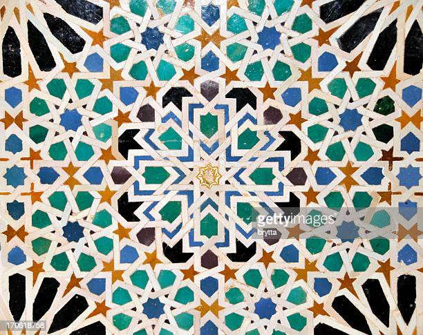 Detail of mosaics in  Nasrid Palace of Alhambra,Sevilla,Spain