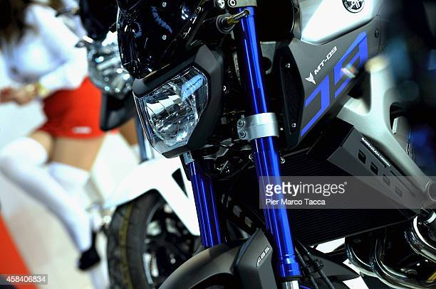 A detail of motorbike is displayed during the EICMA 72th International Motorcycle Exhibition on November 4 2014 in Milan Italy