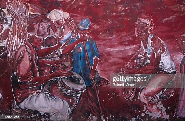 detail of mural on wall in  anse la raye village. - raye stock pictures, royalty-free photos & images