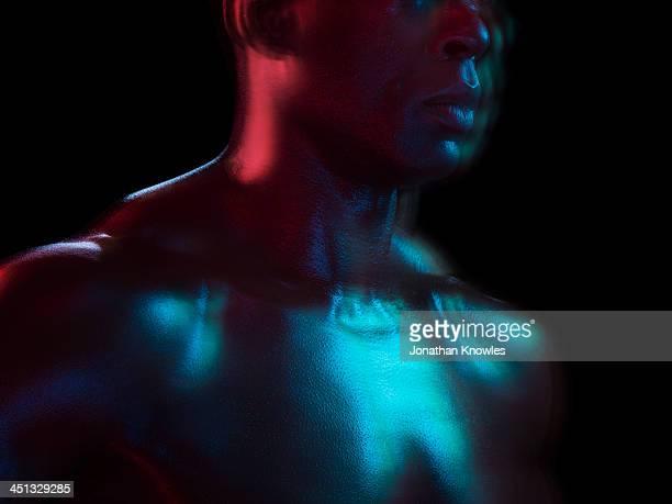 Detail of muscular man, close up