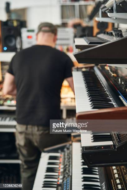 Detail of music hardware at Llama Farm Studio in Staffordshire, on February 11, 2020.