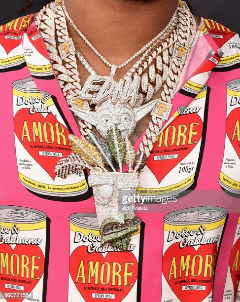 A detail of musical artist Quavo's chain as he attends the 2018 Billboard Music Awards at MGM Grand Garden Arena on May 20 2018 in Las Vegas Nevada