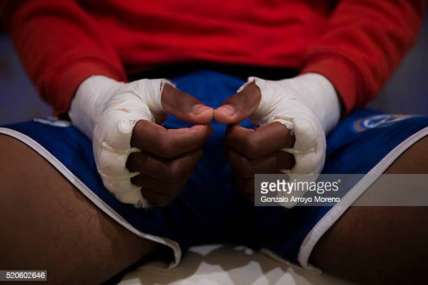 A detail of Mustafa Gueye bandaged hands as he waits at Casino Gran Madrid backstage before his 4x3 bout against Jesus Sanchez alias El Ciclon during...