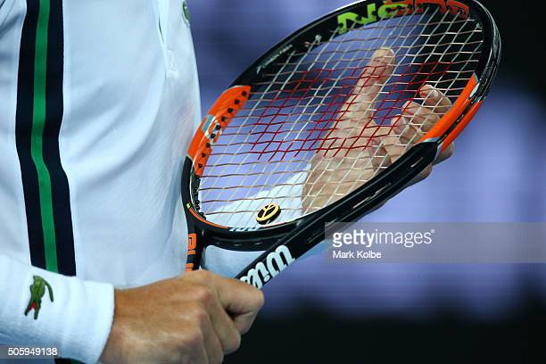 Detail of Nicolas Mahut of France racquet in his second round match against Gael Monfils of France during day four of the 2016 Australian Open at...