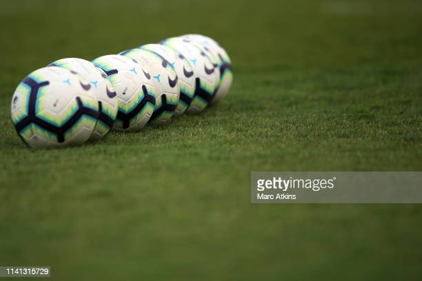 Detail of Nike footballs during the Premier League 2 match between Tottenham Hotspur and Blackburn Rovers at The Lamex Stadium on April 08, 2019 in...