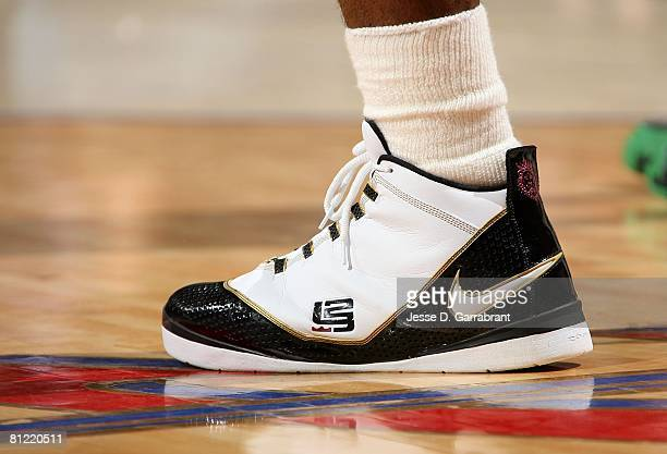 A detail of Nike sneakers worn by LeBron James of the Cleveland Cavaliers against the Boston Celtics in Game Six of the 2008 NBA Eastern Conference...