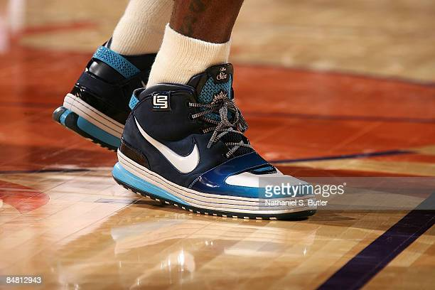 A detail of Nike sneakers worn by LeBron James of the Eastern Conference during the 58th NBA AllStar Game part of 2009 NBA AllStar Weekend at US...