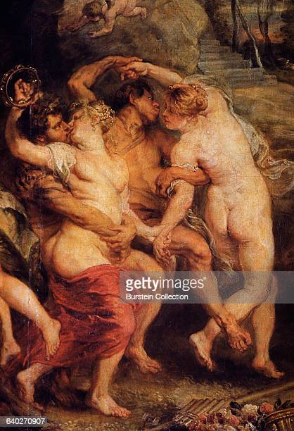 Detail of Nymphs Satyrs and Pan from The Feast of Venus by Peter Paul Rubens