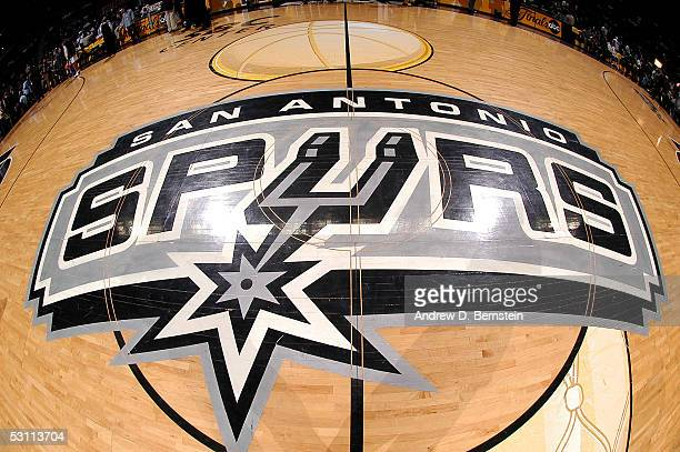 A detail of of the San Antonio Spurs finals logo is seen at center court prior to Game Six of the 2005 NBA Finals against the Detroit Pistons on June...