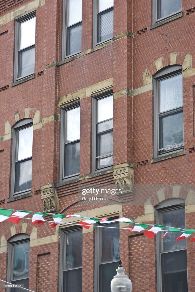 Detail Of Old Apartment Building With Tiny Italian Flags Spanning Street  North End Boston Ma Stock Photo | Getty Images